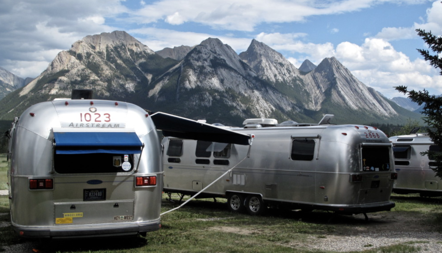 Trailers Parked and mountain scenery